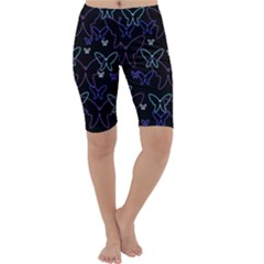 Blue neon butterflies Cropped Leggings