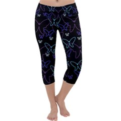 Blue neon butterflies Capri Yoga Leggings