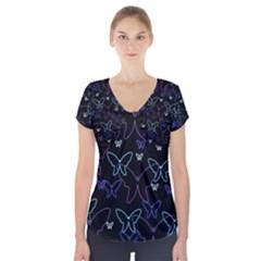 Blue Neon Butterflies Short Sleeve Front Detail Top