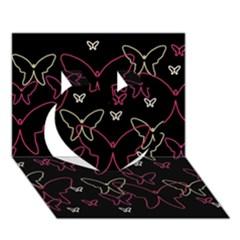 Pink neon butterflies Heart 3D Greeting Card (7x5)