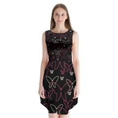 Pink neon butterflies Sleeveless Chiffon Dress