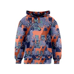 Deer In The Winter Forest Kids  Pullover Hoodie