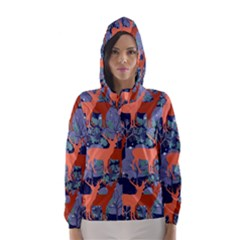 Deer In The Winter Forest Hooded Wind Breaker (women)