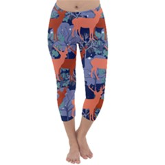 Deer In The Winter Forest Capri Winter Leggings