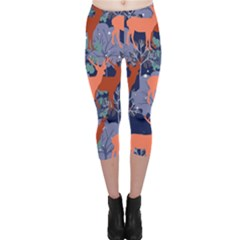 Deer in the winter forest Capri Leggings