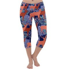 Deer In The Winter Forest Capri Yoga Leggings