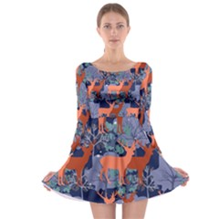 Deer in the winter forest Long Sleeve Skater Dress