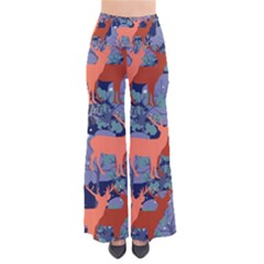 Deer in the winter forest Women s Chic Palazzo Pants