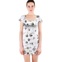 White and yellow soul Short Sleeve Bodycon Dress