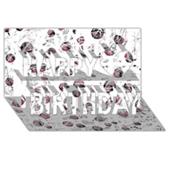 White and red soul Happy Birthday 3D Greeting Card (8x4)