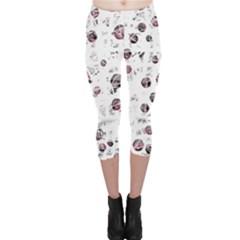 White and red soul Capri Leggings