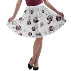 White and red soul A-line Skater Skirt