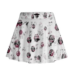 White and red soul Mini Flare Skirt