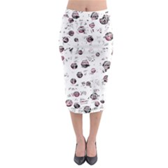 White And Red Soul Midi Pencil Skirt