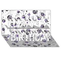 White and blue soul Happy Birthday 3D Greeting Card (8x4)