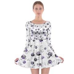White and blue soul Long Sleeve Skater Dress