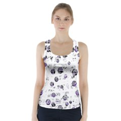 White and blue soul Racer Back Sports Top