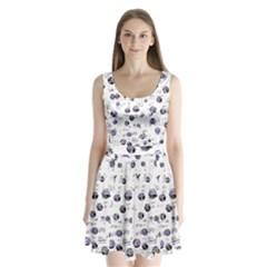 White And Blue Soul Split Back Mini Dress