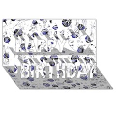 White And Deep Blue Soul Happy Birthday 3d Greeting Card (8x4)