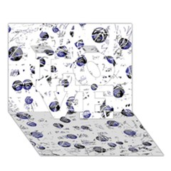 White and deep blue soul LOVE 3D Greeting Card (7x5)