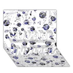 White and deep blue soul YOU ARE INVITED 3D Greeting Card (7x5)