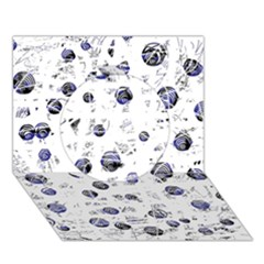 White and deep blue soul Circle 3D Greeting Card (7x5)