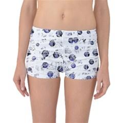White and deep blue soul Boyleg Bikini Bottoms