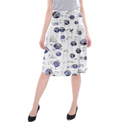 White And Deep Blue Soul Midi Beach Skirt