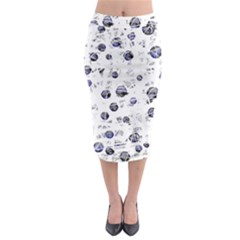 White and deep blue soul Midi Pencil Skirt