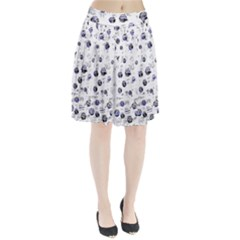 White and deep blue soul Pleated Skirt