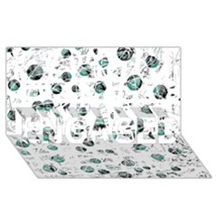 White and green soul ENGAGED 3D Greeting Card (8x4)