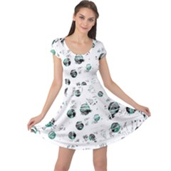 White and green soul Cap Sleeve Dresses