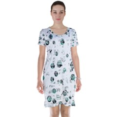 White and green soul Short Sleeve Nightdress