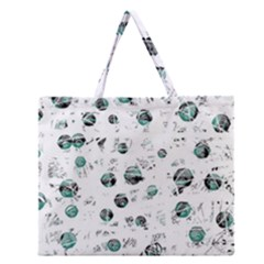 White And Green Soul Zipper Large Tote Bag