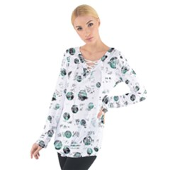 White And Green Soul Women s Tie Up Tee