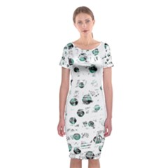 White And Green Soul Classic Short Sleeve Midi Dress