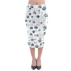 White And Green Soul Midi Pencil Skirt