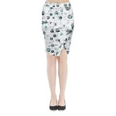 White and green soul Midi Wrap Pencil Skirt