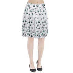 White and green soul Pleated Skirt