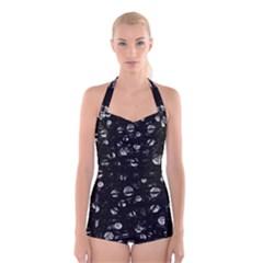 Black and gray soul Boyleg Halter Swimsuit