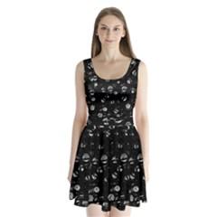Black and gray soul Split Back Mini Dress