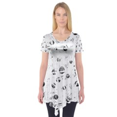 White and gray soul Short Sleeve Tunic