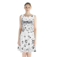 White and gray soul Sleeveless Chiffon Waist Tie Dress
