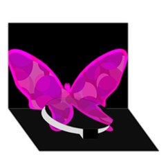 Purple Butterfly Circle Bottom 3d Greeting Card (7x5)