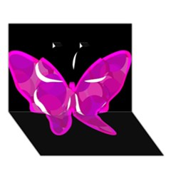 Purple butterfly Clover 3D Greeting Card (7x5)