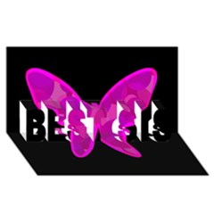 Purple butterfly BEST SIS 3D Greeting Card (8x4)