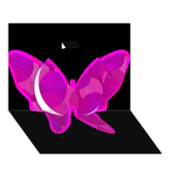 Purple butterfly Circle 3D Greeting Card (7x5)