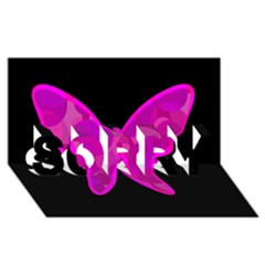 Purple butterfly SORRY 3D Greeting Card (8x4)