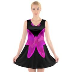 Purple butterfly V-Neck Sleeveless Skater Dress