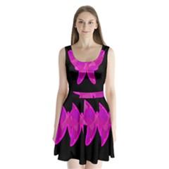 Purple butterfly Split Back Mini Dress